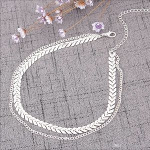 Boho Chevron Layered Choker Necklace Silver